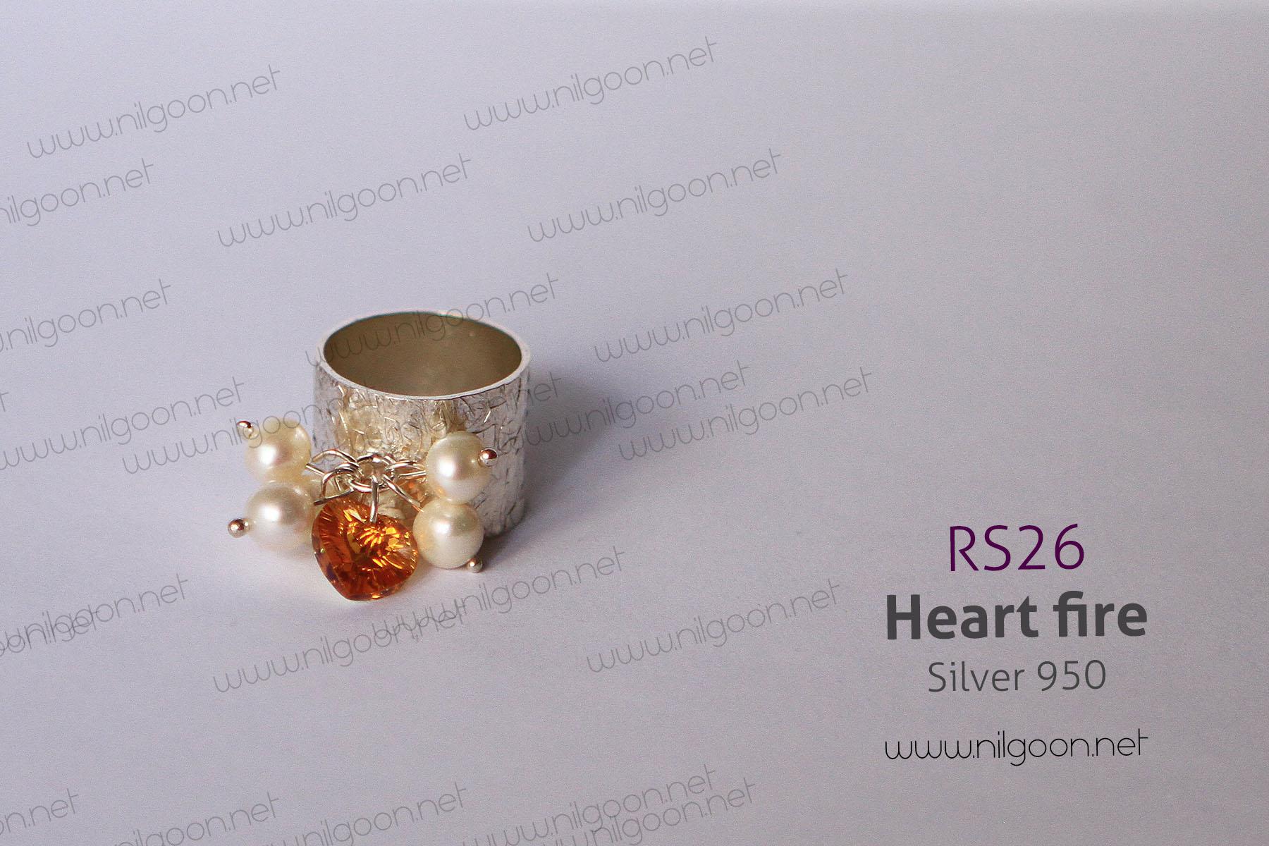 انگشتر نقره Heart fire