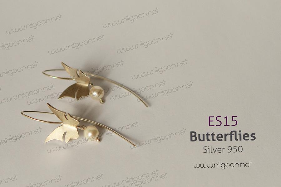 گوشواره نقره پروانه